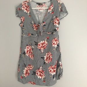 Tie front Floral Stripe Mini Dress